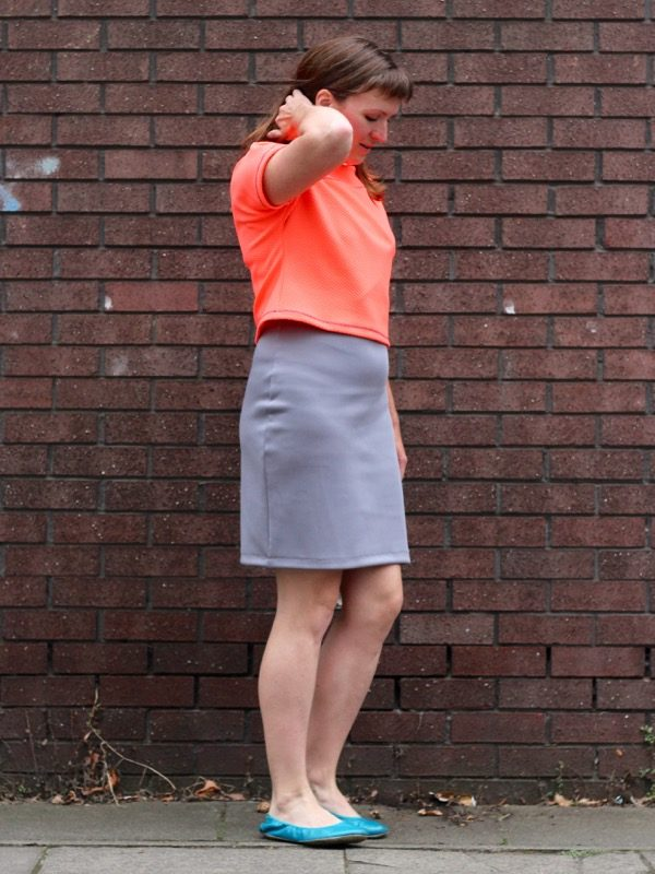 neon crop over dress - arm up