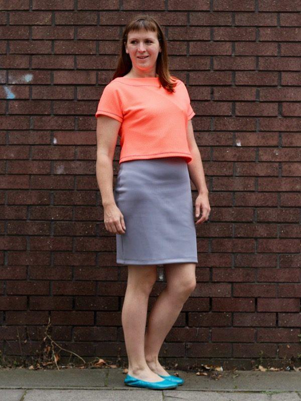 neon crop over dress - looking back
