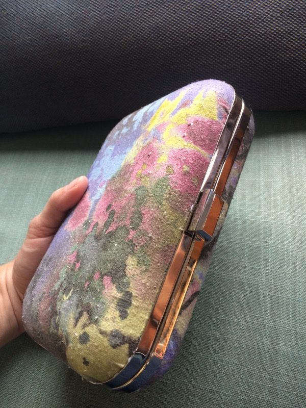 silk noile clutch closed