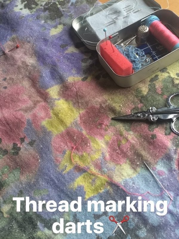 silk noile dress thread marking