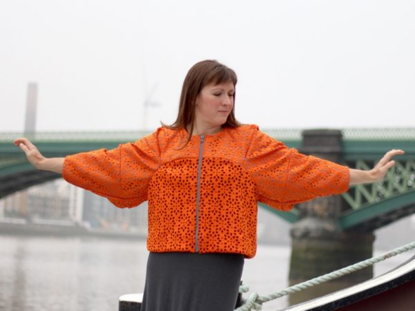sewdots jacket - arms outstretched