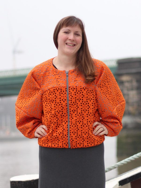 sewdots jacket - hands on hips