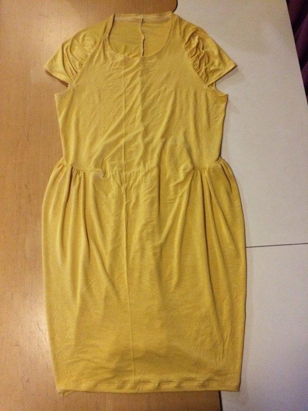 yellow Drape Drape dress - laid flat