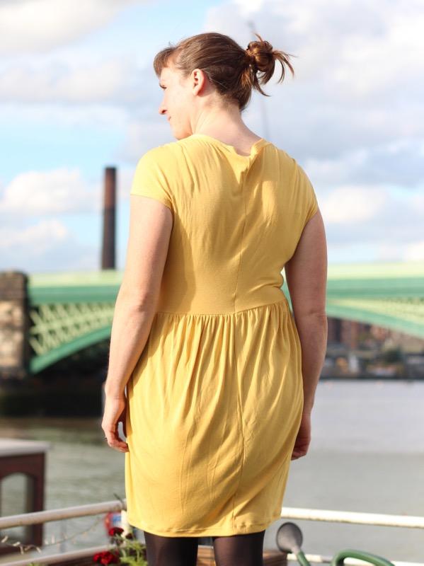 yellow drape drape dress - back view