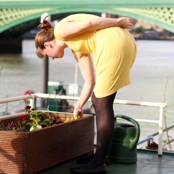 yellow drape drape dress - gardening