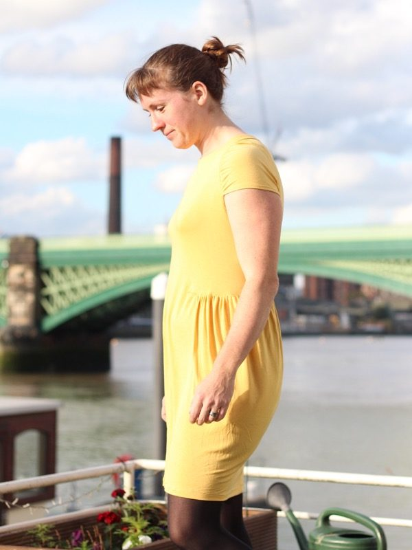 yellow drape drape dress - left side