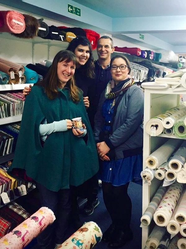 Me, Rachel, Paul and Claire at Fabrics Galore