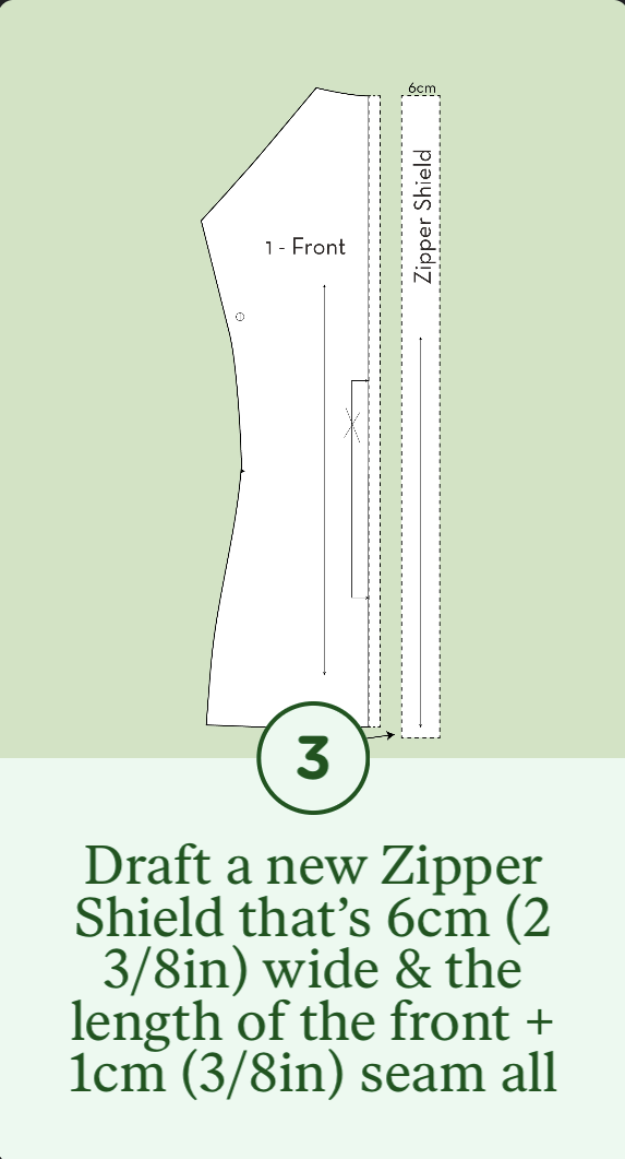 3- Draft a new Zipper Shield that's 6cm wide & the length of the Front + 1cm seam allowance