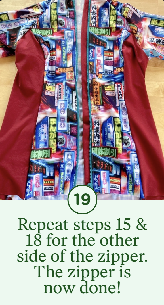 19- Repeat steps 15 & 18 for the other side of the zipper. The zipper is now done!