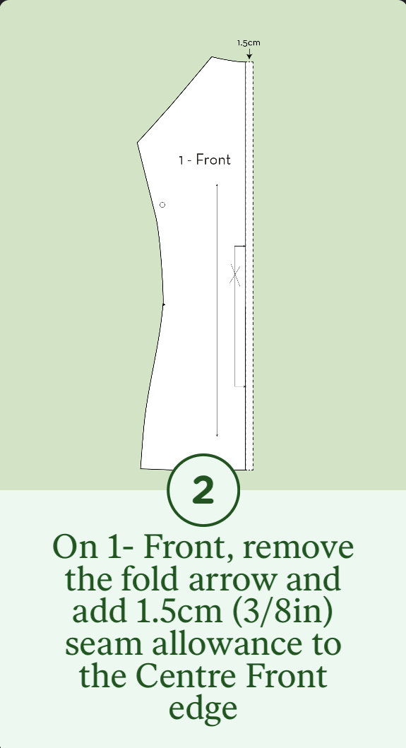 2- On 1-Front, remove the fold arrow and add 1.5cm seam allowance to the CF edge