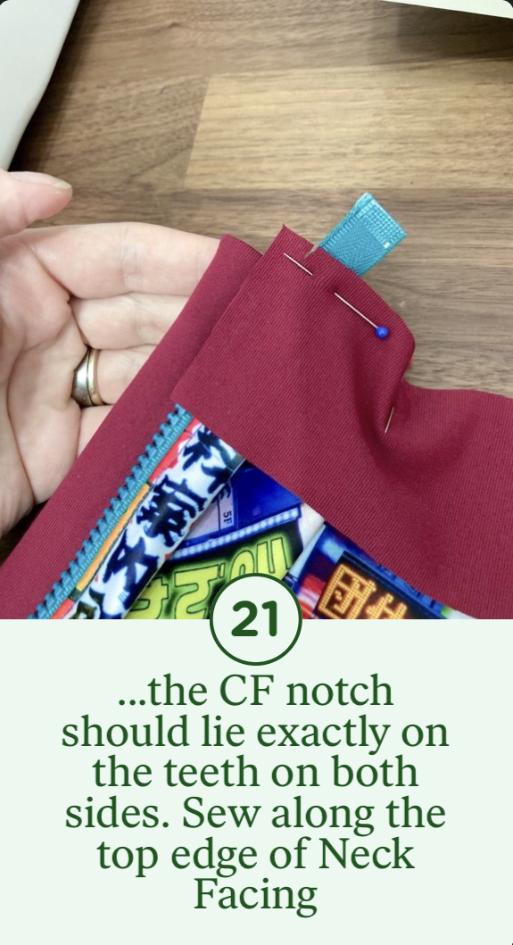 21- ...the CF notch should lie exactly on the teeth on both sides. Sew along the top edge of Neck Facing